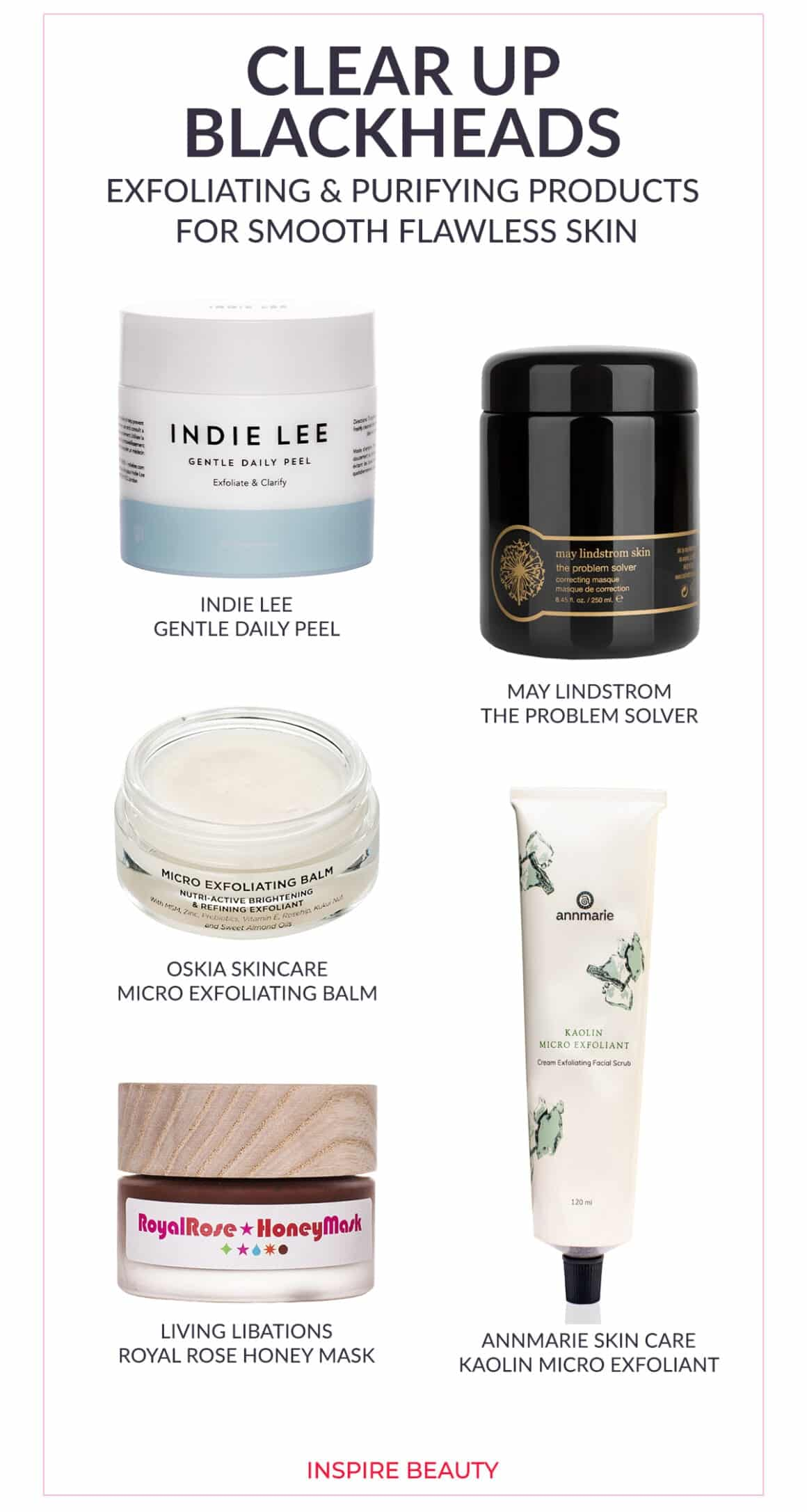 Exfoliating skin care products for blackheads featuring Indie Lee Gentle Daily Peel, Living Libations Royal Rose Honey Mask, Oskia Micro Exfoliating Balm, May Lindstrom Problem Solver, Annmarie Skin Care Kaolin Micro Exfoliant
