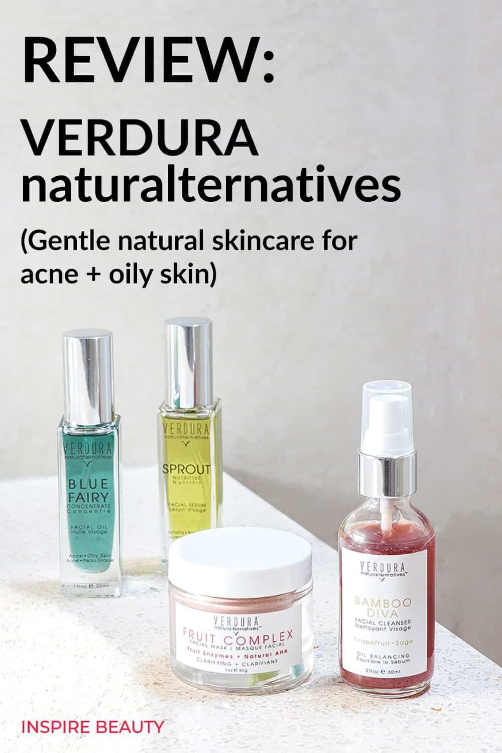 VERDURA naturalternatives review of Blue Fairy Concentrate, Fruit Complex Facial Mask, Bamboo Diva Cleanser, Sprout Facial Oil