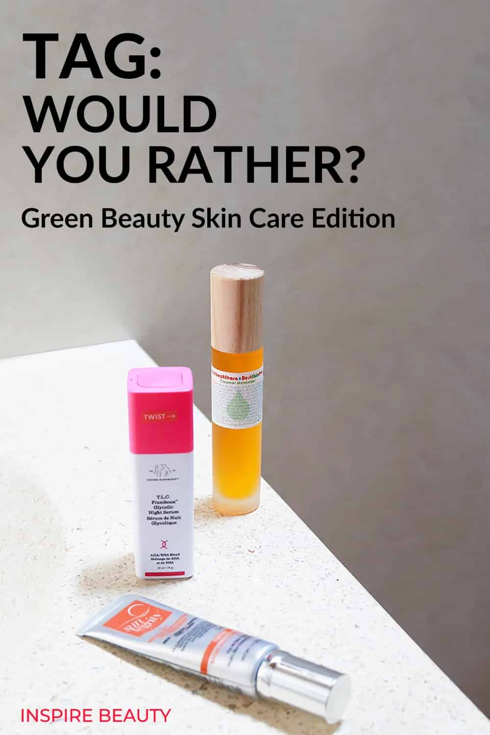 """My answers to the YouTube Tag """"Would You Rather?"""" Green Beauty Edition, featuring some of my favourite products from Drunk Elephant, Living Libations, Suntegrity."""