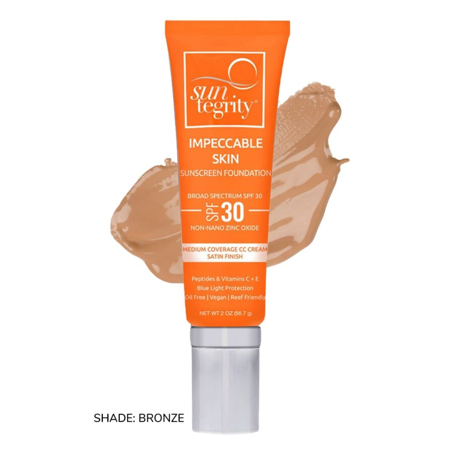 Swatch of Suntegrity Impeccable Skin mineral sunscreen foundation in shade Bronze