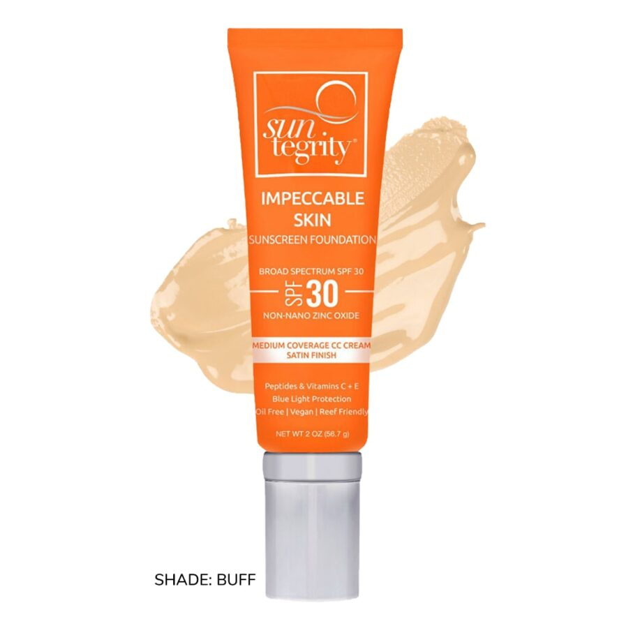 Swatch of Suntegrity Impeccable Skin mineral sunscreen foundation in shade Buff