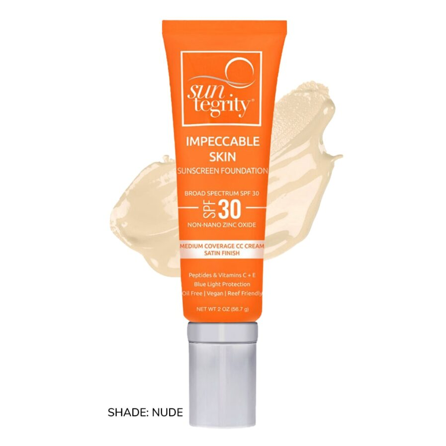 Swatch of Suntegrity Impeccable Skin mineral sunscreen foundation in shade Nude