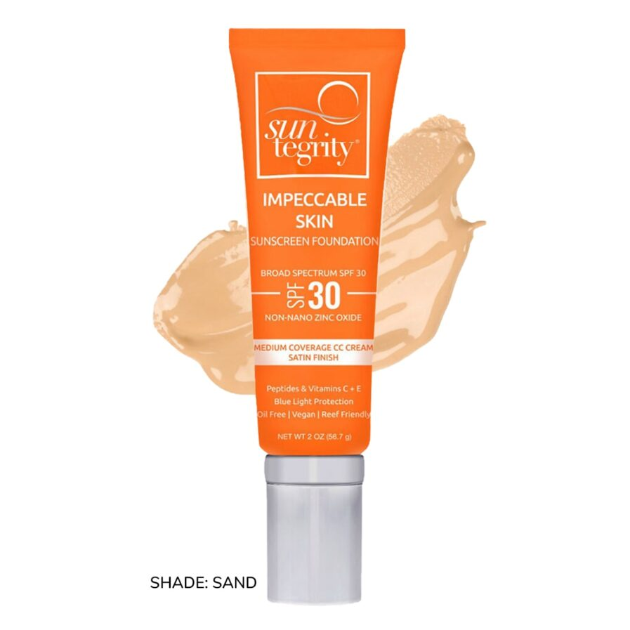 Swatch of Suntegrity Impeccable Skin mineral sunscreen foundation in shade Sand