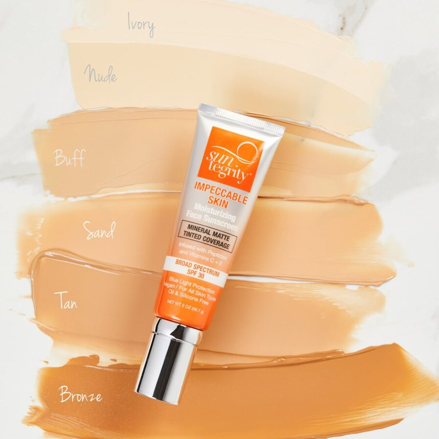 Swatches of all 6 shades of Suntegrity Impeccable Skin foundation sunscreen