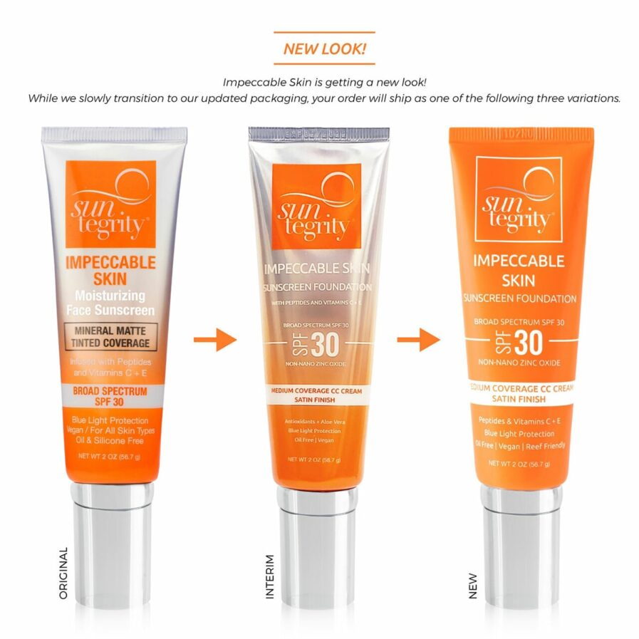 Examples of Suntegrity Impeccable Skin packaging including the original, interim and new packaging.