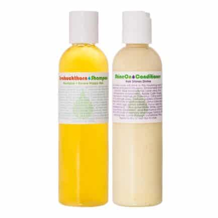 Living Libations Seabuckthorn Shampoo and Shone On Conditioner set is perfect every day hair care for keeping hair healthy, shiny, strong, and lustrous