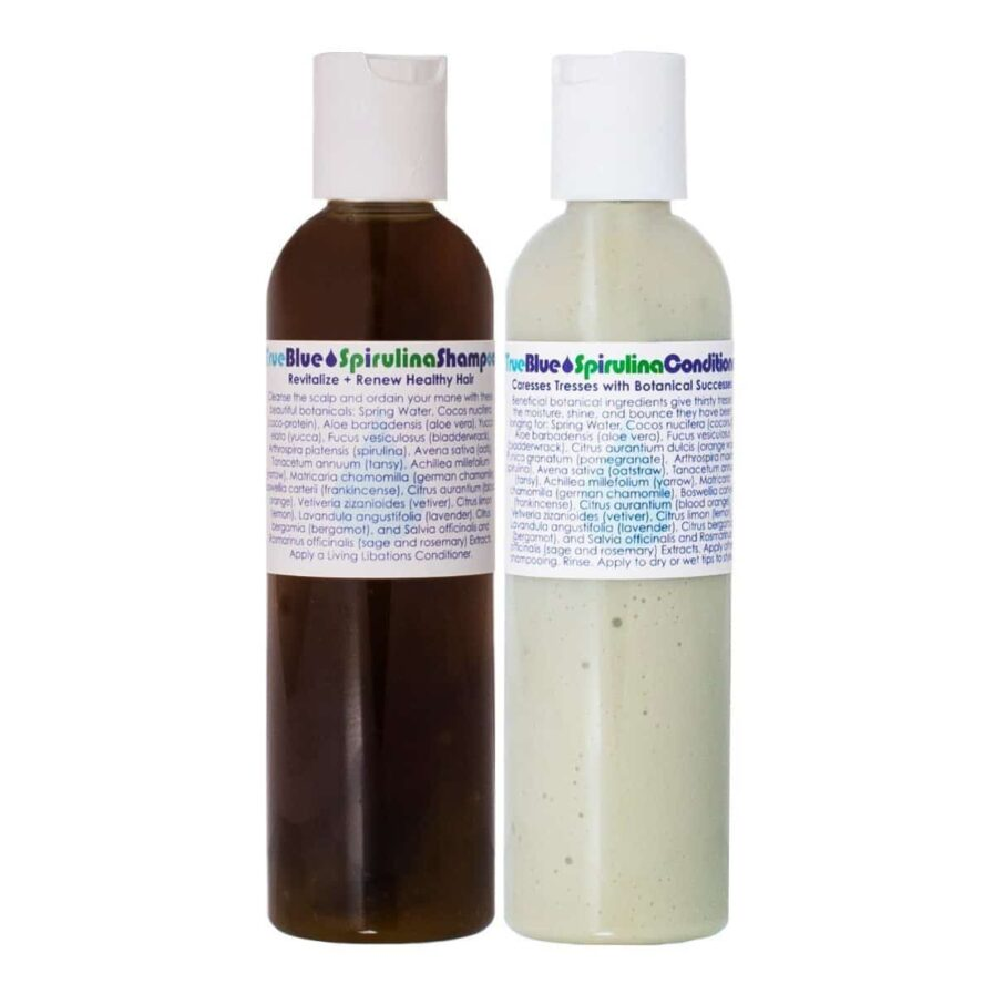 Living Libations True Blue Spirulina Shampoo and Conditioner set adds weightless body and shine to limp, lacklustre hair.