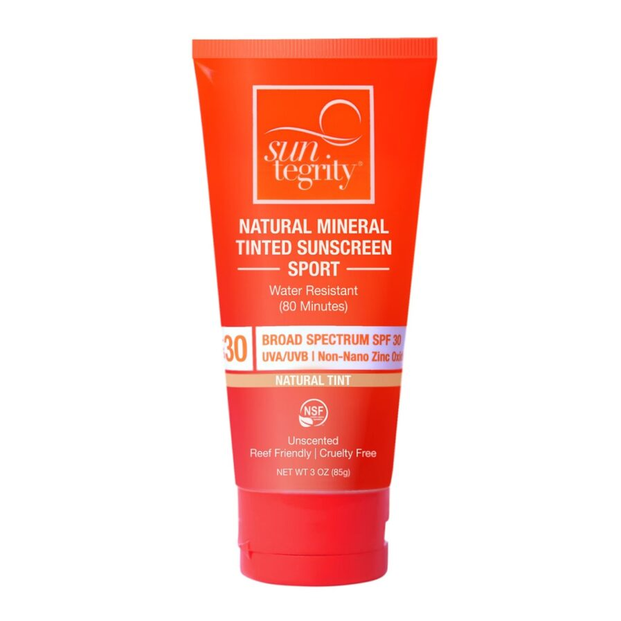 Suntegrity Sport Sunscreen is a tinted, water-resistant mineral sunscreen with broad spectrum SPF 30 sun protection, perfect sunscreen for the beach and outdoor activities.