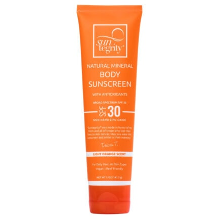 Suntegrity Body Sunscreen for the body is a moisturizing, non-greasy mineral sunscreen with a light citrus scent.