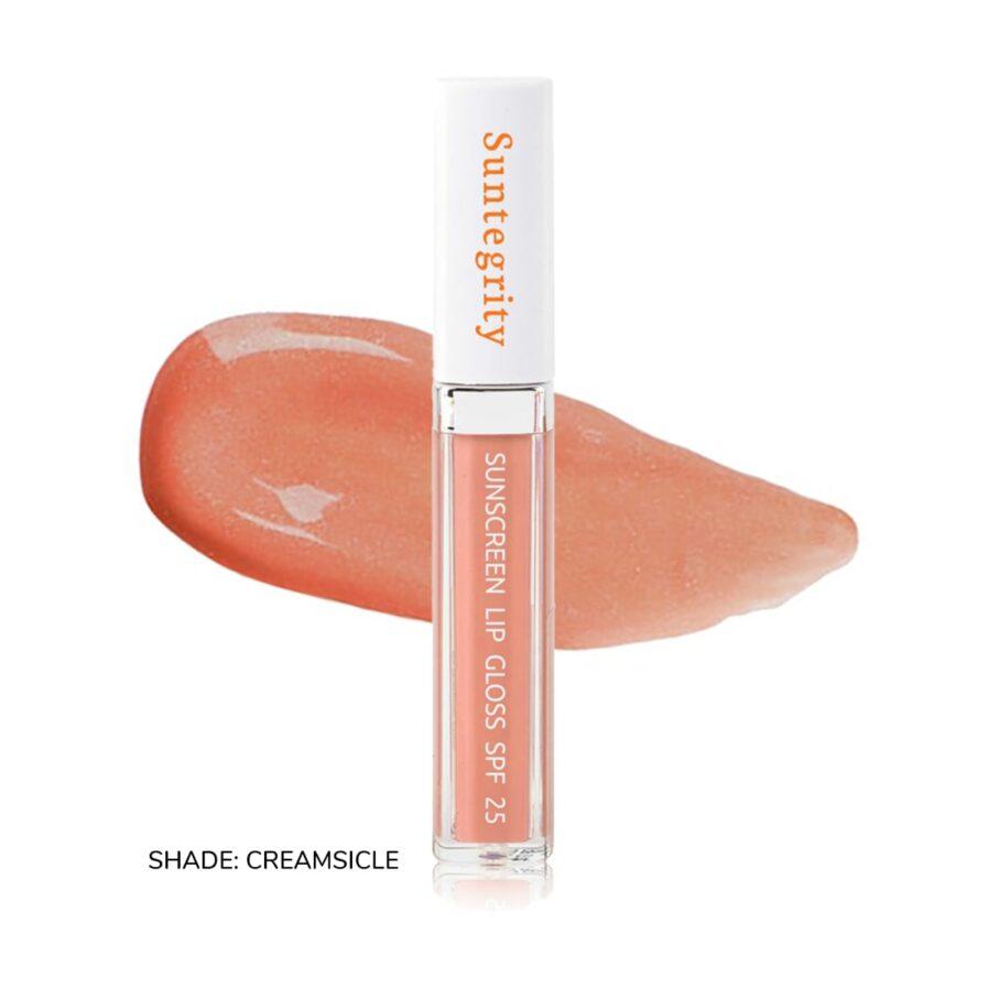 Suntegrity Sunscreen Lip Gloss swatch of shade Creamsicle