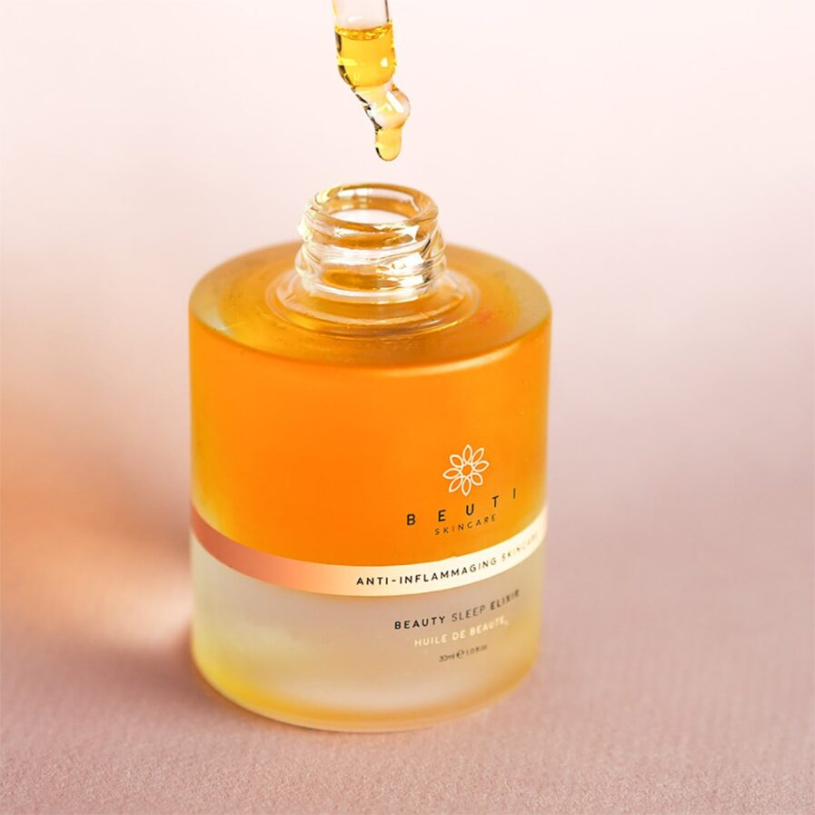 Beuti Skincare Beauty Sleep Elixir nourishes and soothes skin overnight.