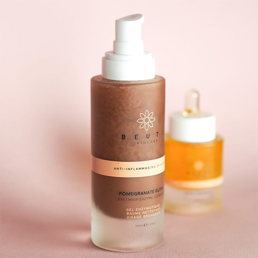 Beuti Skincare Pomegranate Glow Enzyme Cleanser is an exfoliating gel balm facial cleanser for smooth radiant skin.