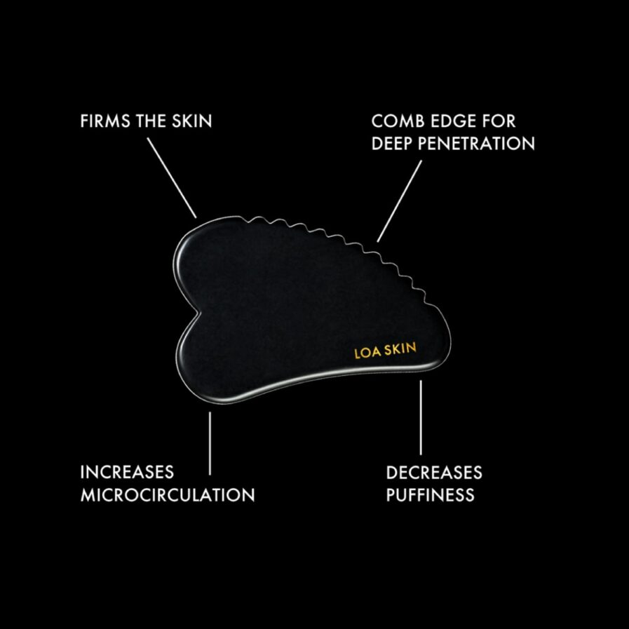 Loa Skin Antigravity Gua Sha is handcrafted from black obsidian stone with a ribbed side for a deeper massage treatment.